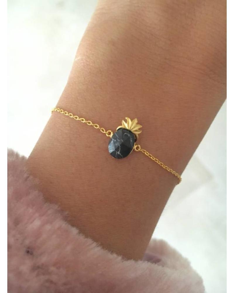 Fashion-Click Armband  Black Marble Pineapple