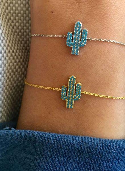 Fashion-Click Armband  Blue Cactus