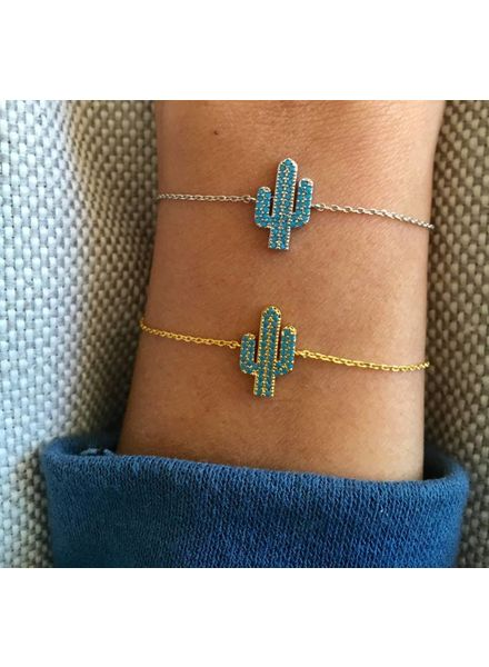 Fashion-Click Armband  Blue Cactus