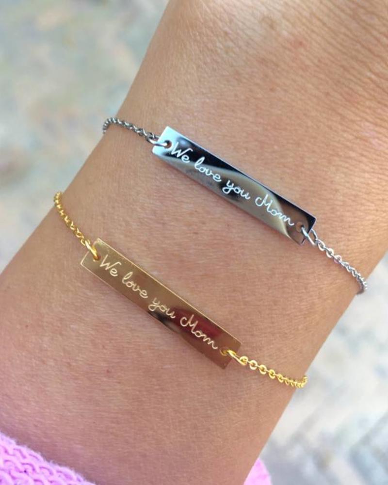 """Fashion-Click Armband  """"We Love You Mom"""""""