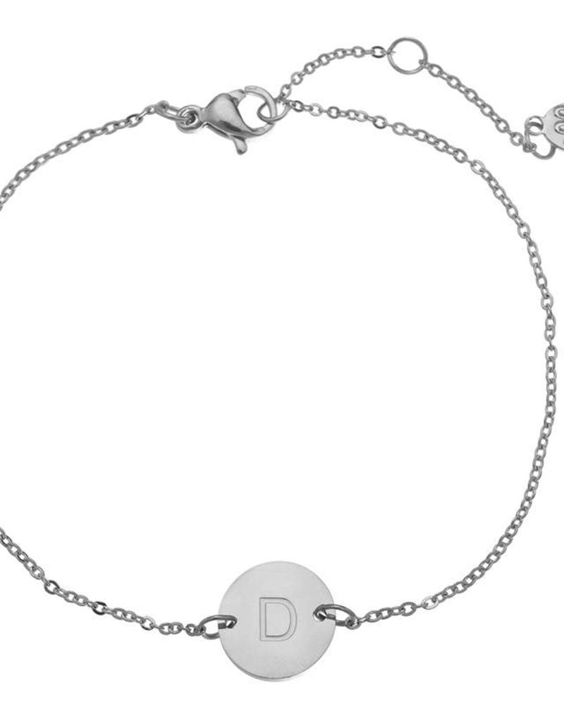 Fashion-Click Armband  Own Letter Zilver