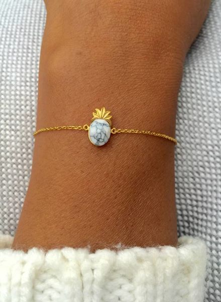 Fashion-Click Armband White Marble Pineapple