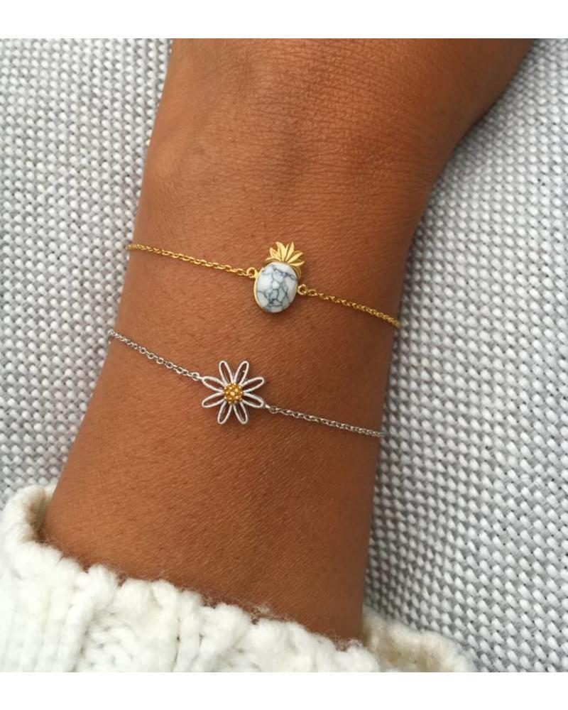 Fashion-Click Armband White Marble Pineapple