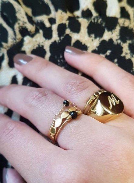 Fashion-Click Initial Zegelring Goud
