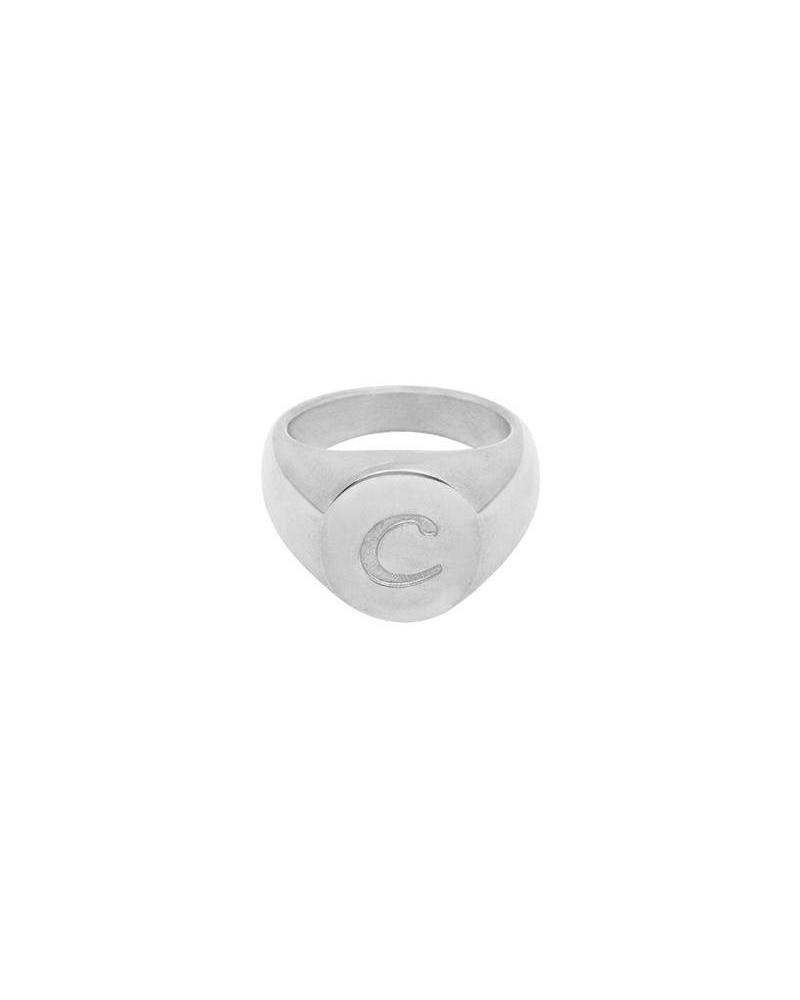 Fashion-Click Initial Zegelring Zilver