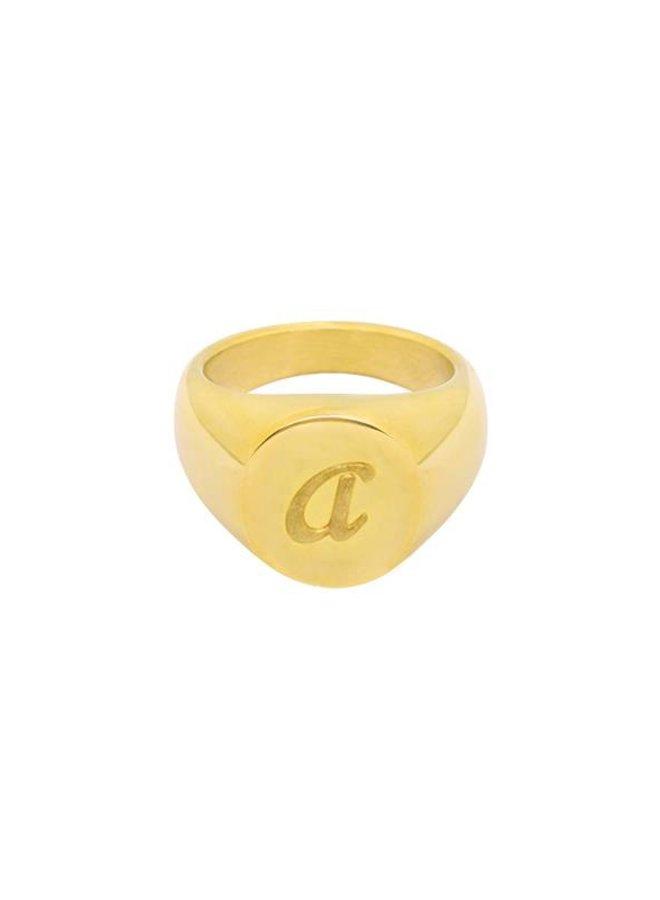 Initial Zegelring Goud met Letter