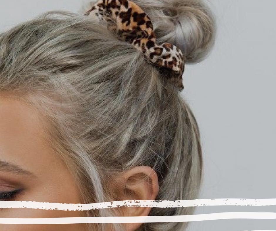 luipaardprint haar scrunchie haardonut