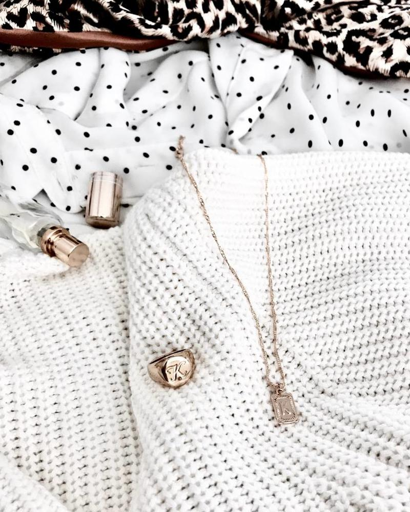 Fashion-Click Initial Zegelring Goud met Letter