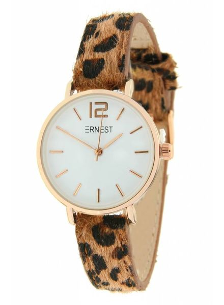 Ernest Ernest Horloge Leopard Brown Rose Mini