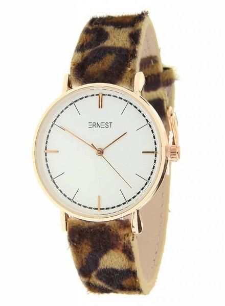 Fashion-Click Ernest Horloge Classic Leopard Beige