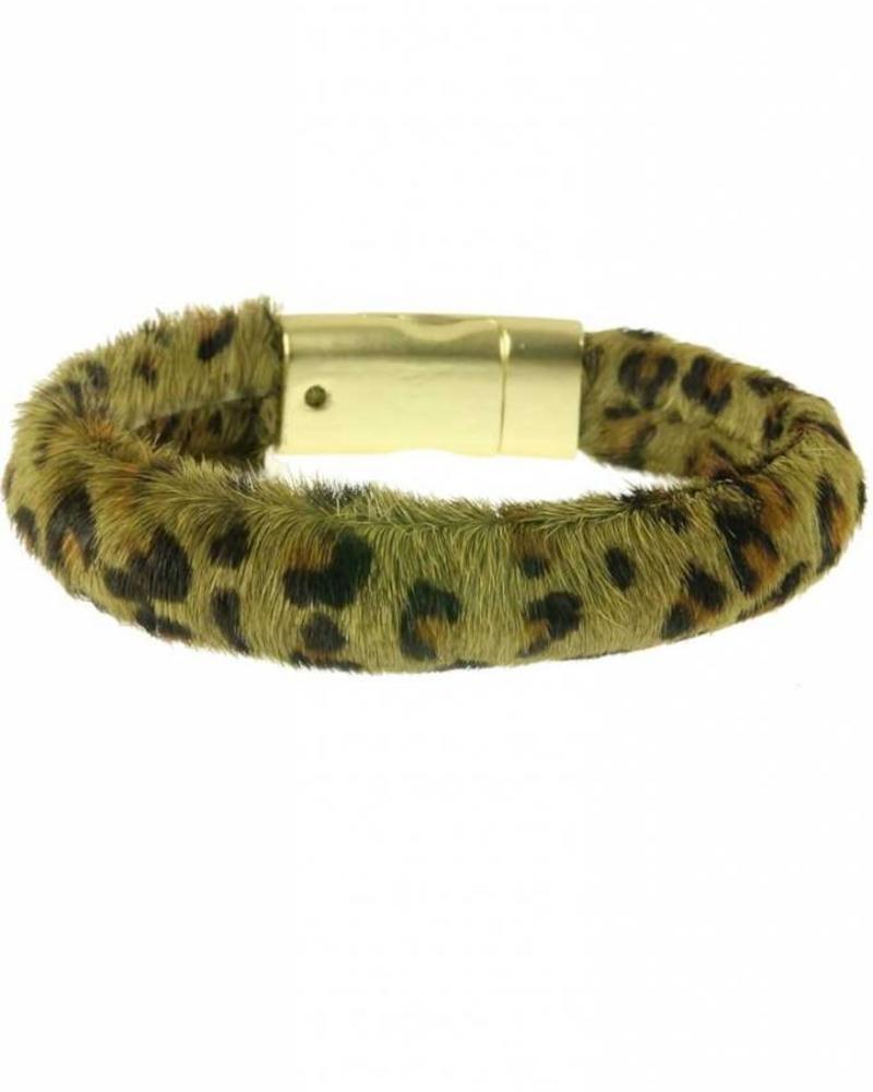 Fashion-Click Armband Hairy Leopard Green