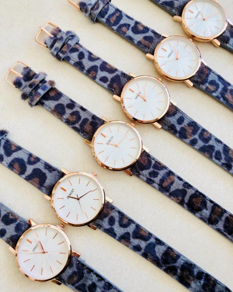 Fashion-Click Ernest Horloge Minimalist Leopard Grey