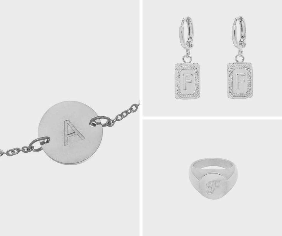 initial armbanden en oorbellen met letters