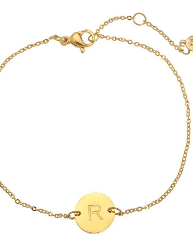 Fashion-Click Armband  Own Letter Goud