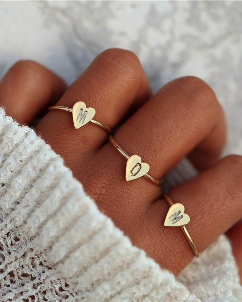 Fashion-Click Ring Initial Heart