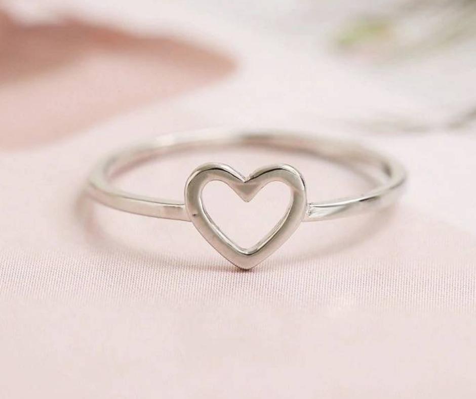 ring hart minimalistisch zilver