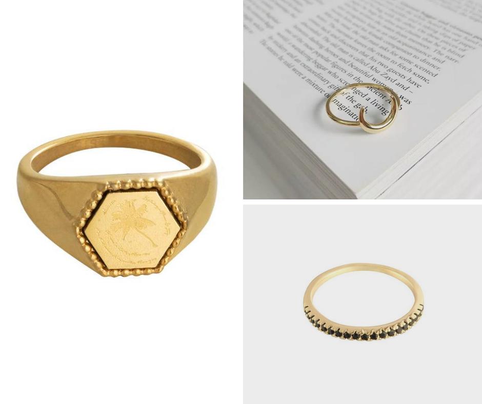 collage signet ring initial goud minimalistisch zwarte steentjes
