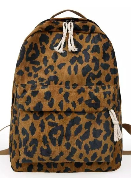 Fashion-Click Rugtas Leopard Corduroy