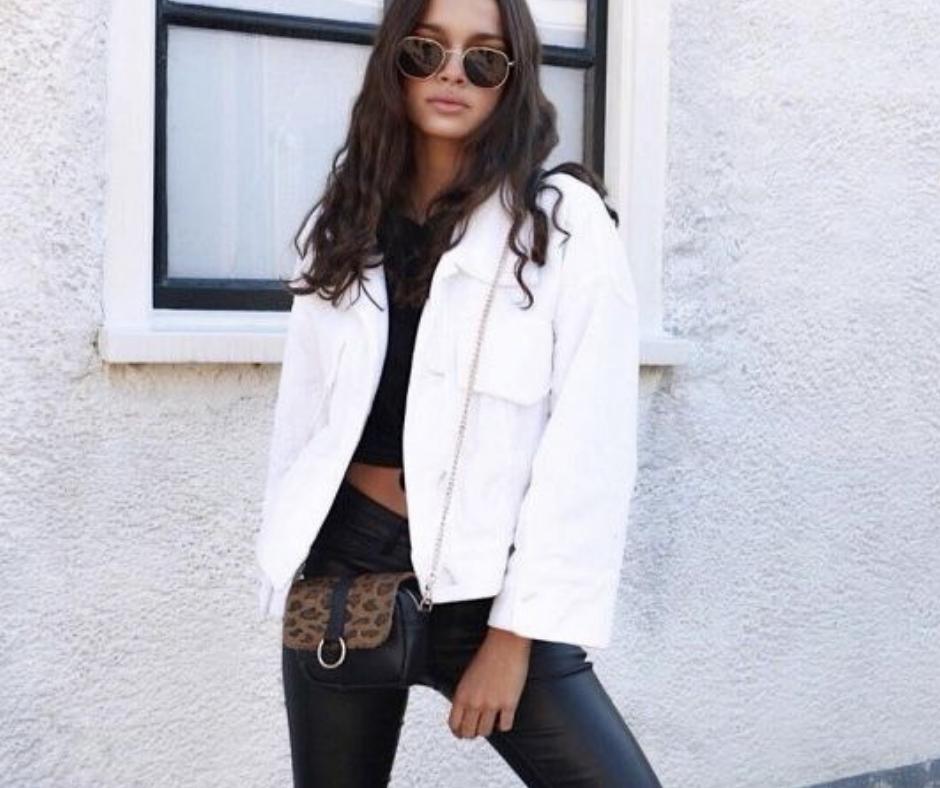 fashion luipaardprint heuptas fanny pack witte jas