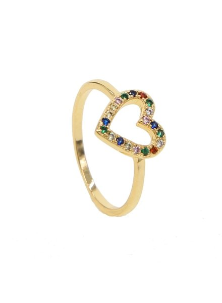 Fashion-Click Ring Rainbow Heart