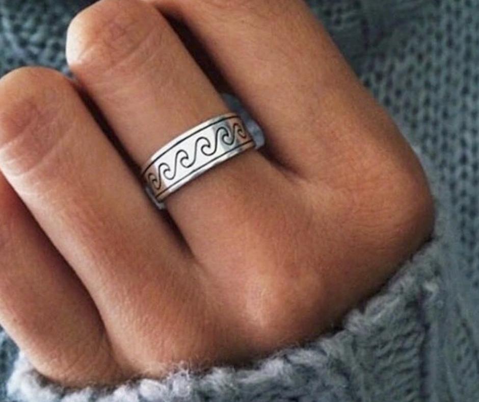 wave ring golven zilveren brede ring beach sieraden