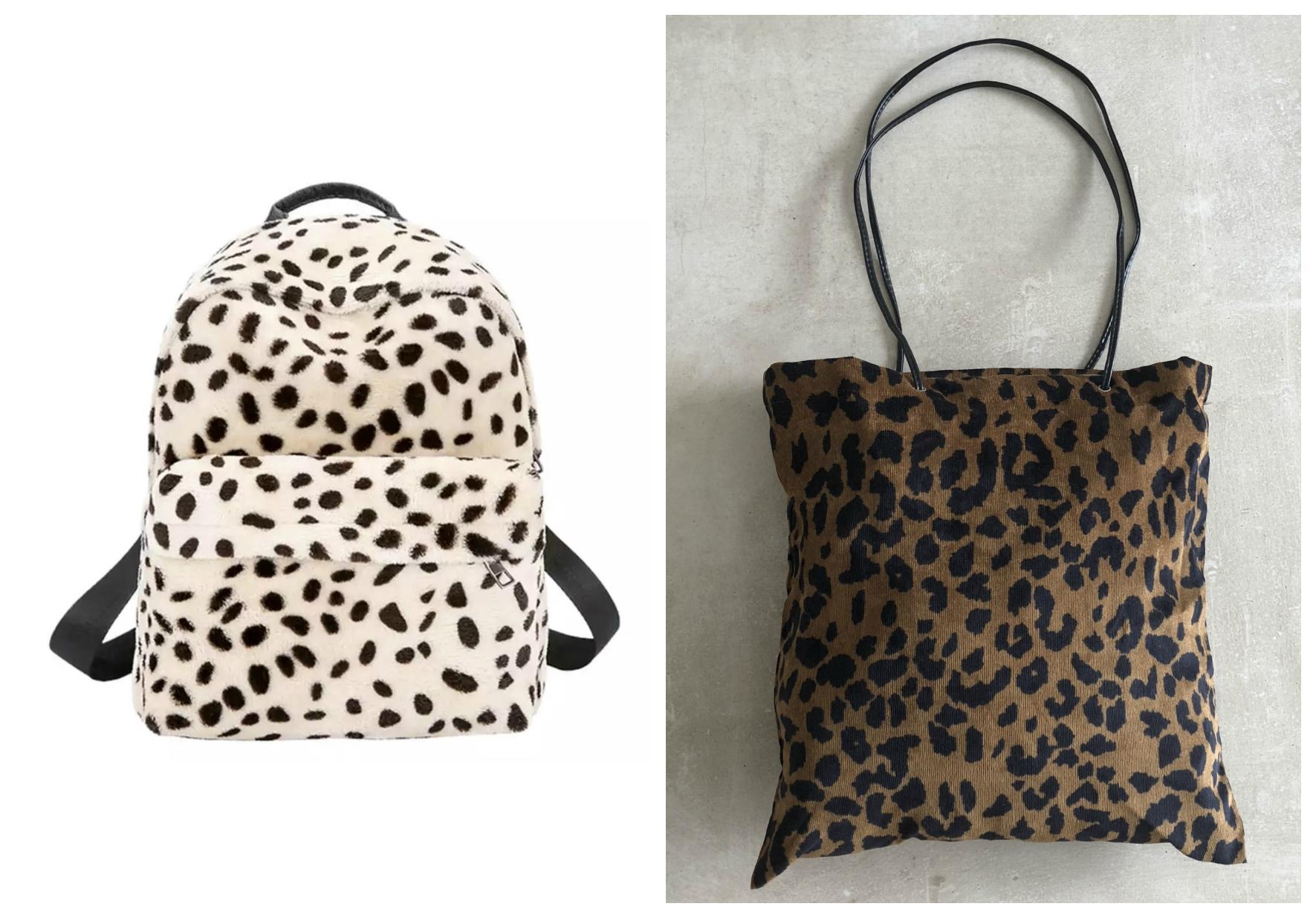 leopard tassen harig backpack rugtas en canvas bag luipaardprint