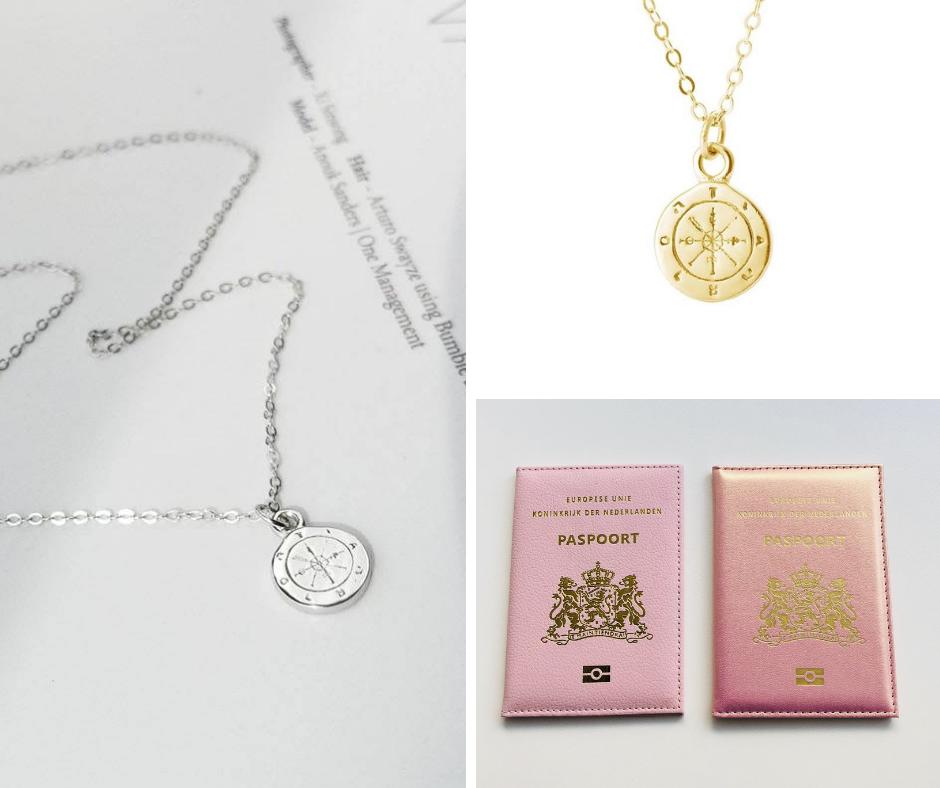 paspoort houder roze en kompas ketting goud zilver
