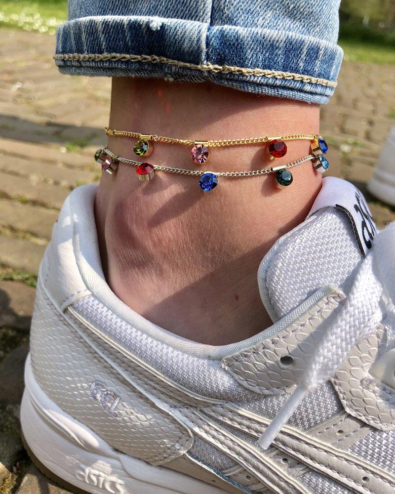 Fashion-Click Enkelbandje Colourfull Gems