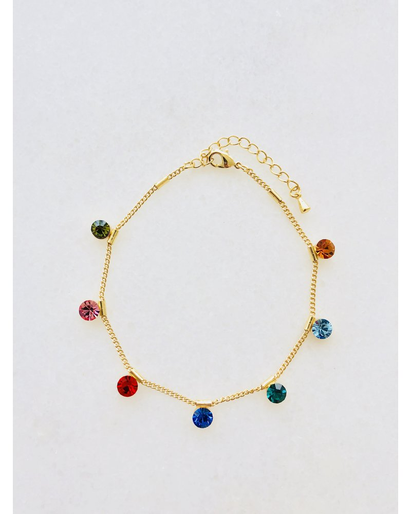 Fashion-Click Enkelbandje Colourfull Gems
