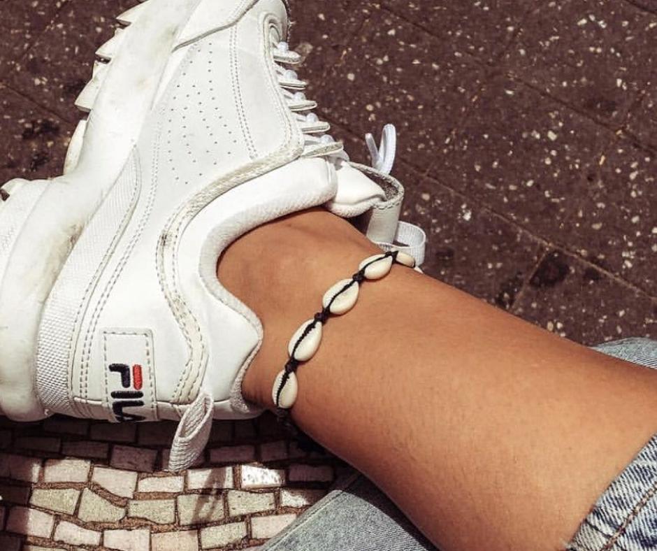 fila sneakers 90s met schelpen enkelbandje zwart touw