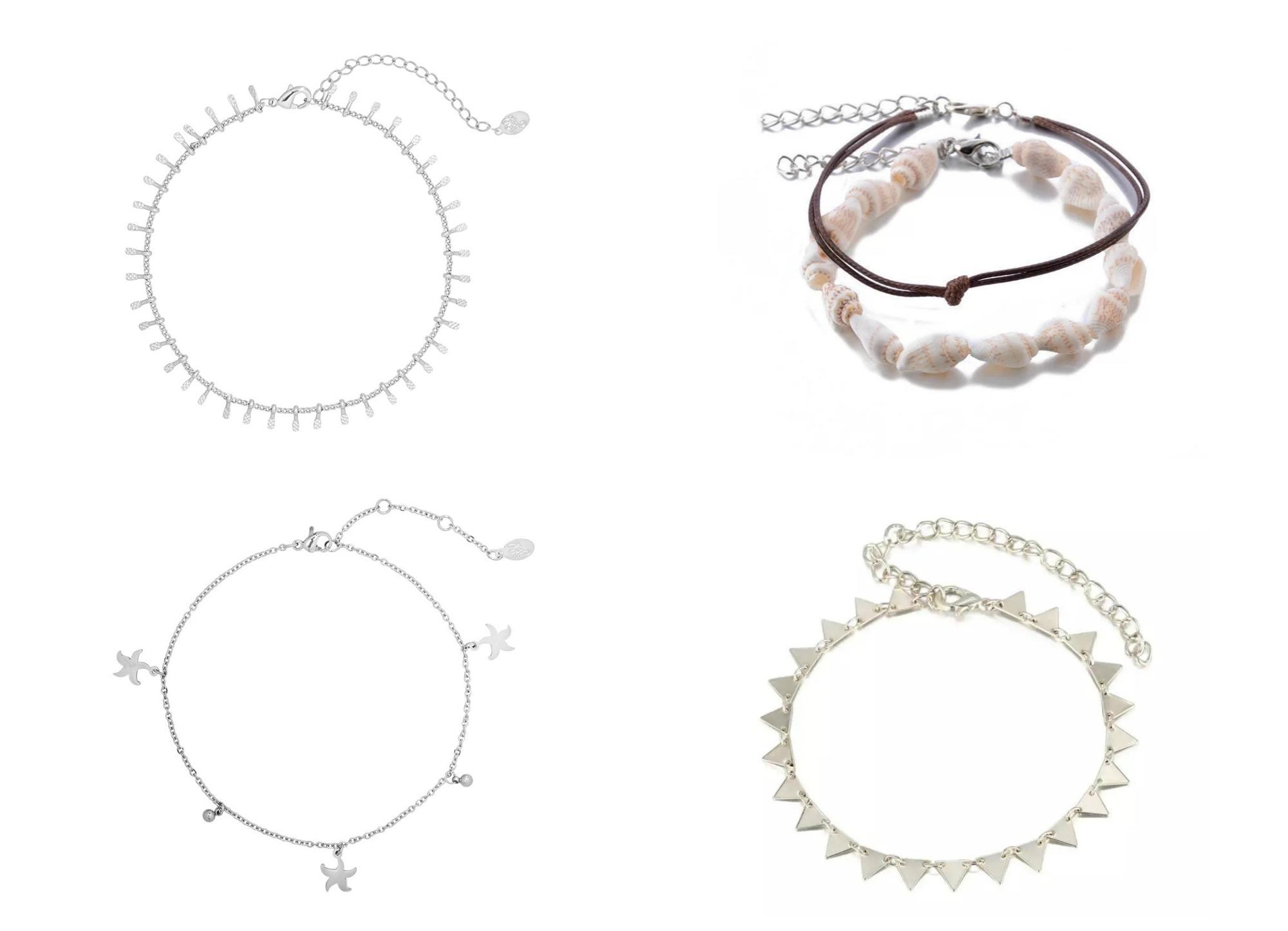 enkelbandjes van fashion-click.nl shoppen schelpjes zilver goud strand fashion trend sieraden