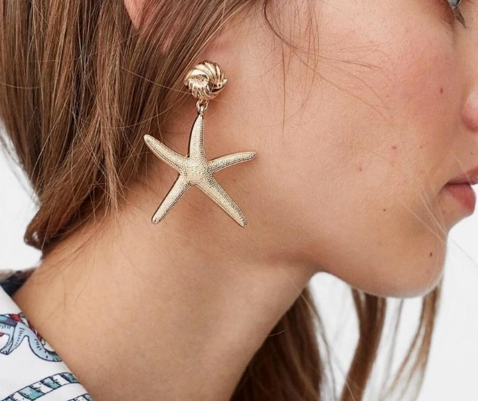 zeester oorbellen goudkleur zeethema sea star accessoire