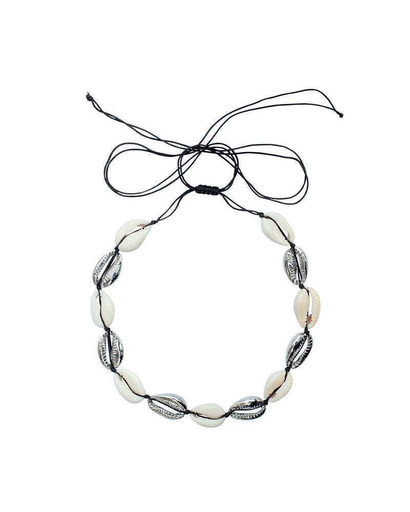 Fashion-Click Choker Ketting  Mixed Shells Silver