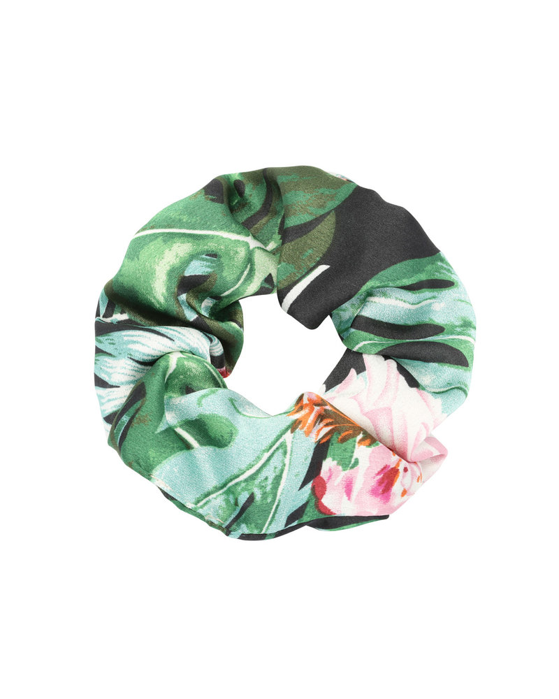 Fashion-Click Scrunchie Tropical Flowers Green