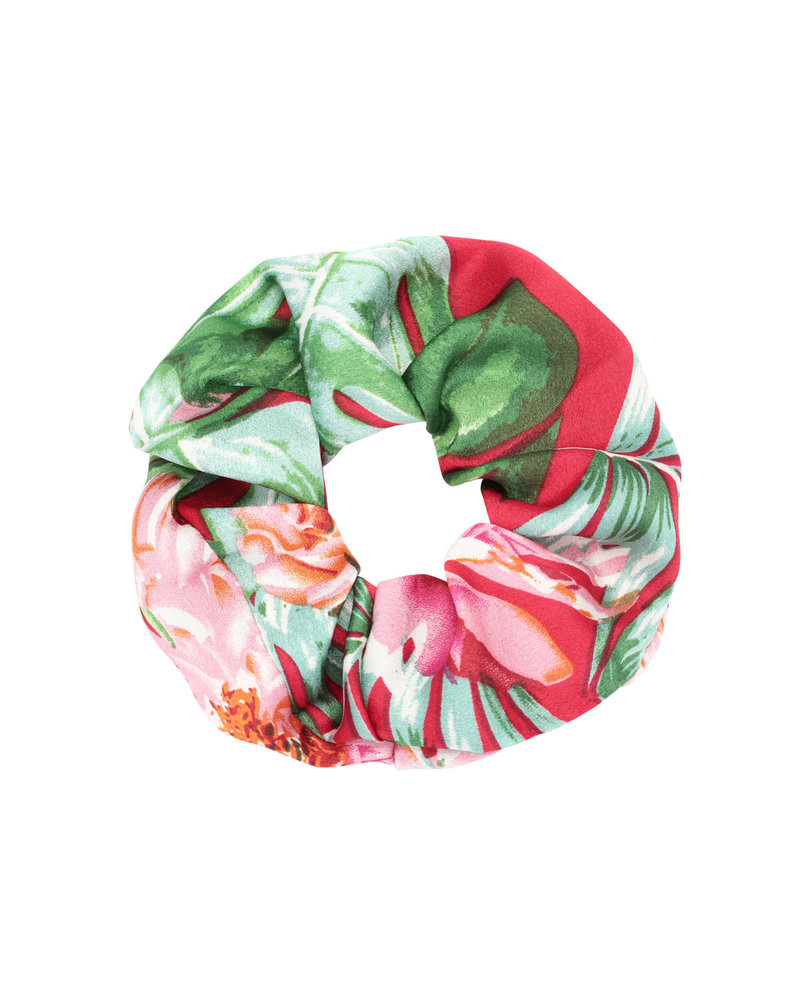 Scrunchie Tropical Flowers Red