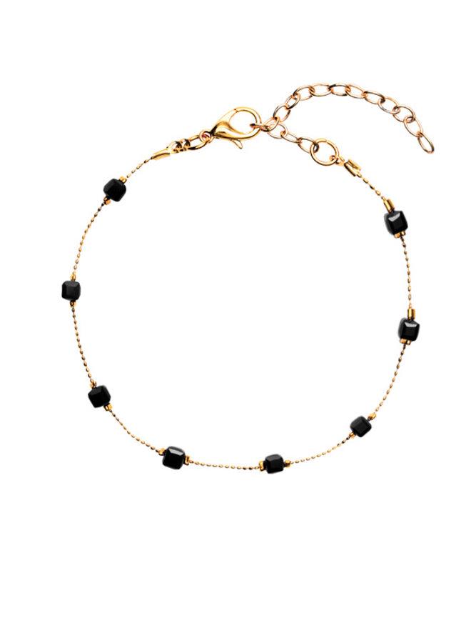 Enkelbandje Square Beads Black
