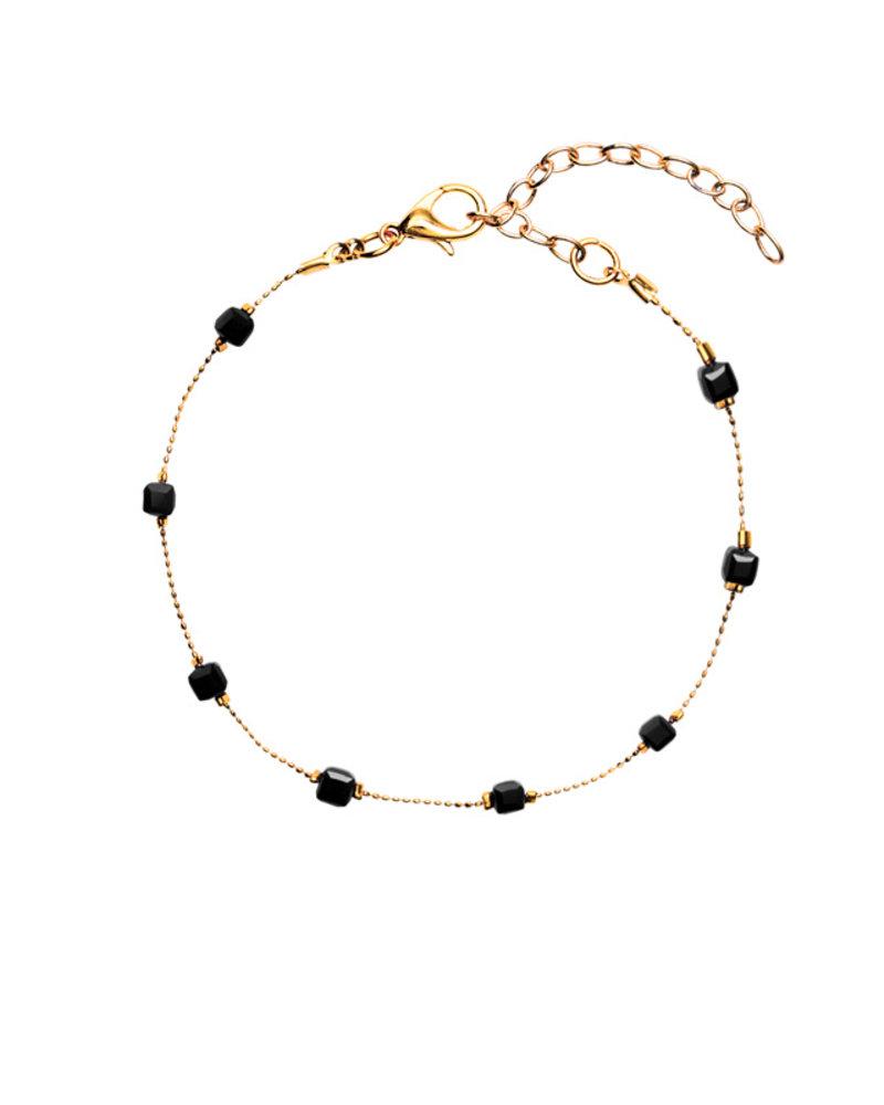 Fashion-Click Enkelbandje Square Beads Black