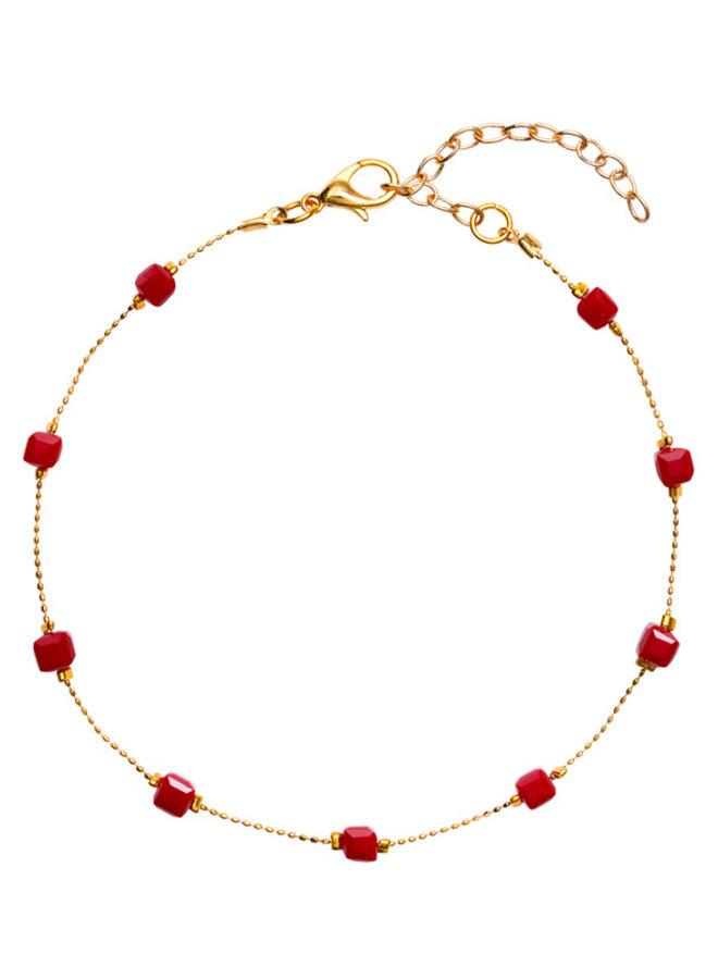 Enkelbandje Square Beads Red