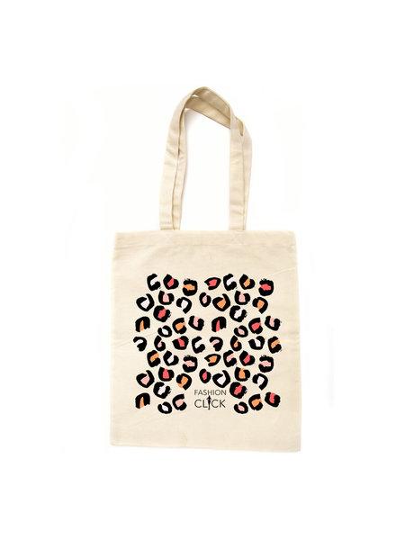 Fashion-Click Canvas Tas Happy Leopard