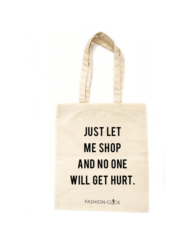 Fashion-Click Canvas Tas Just Let Me Shop