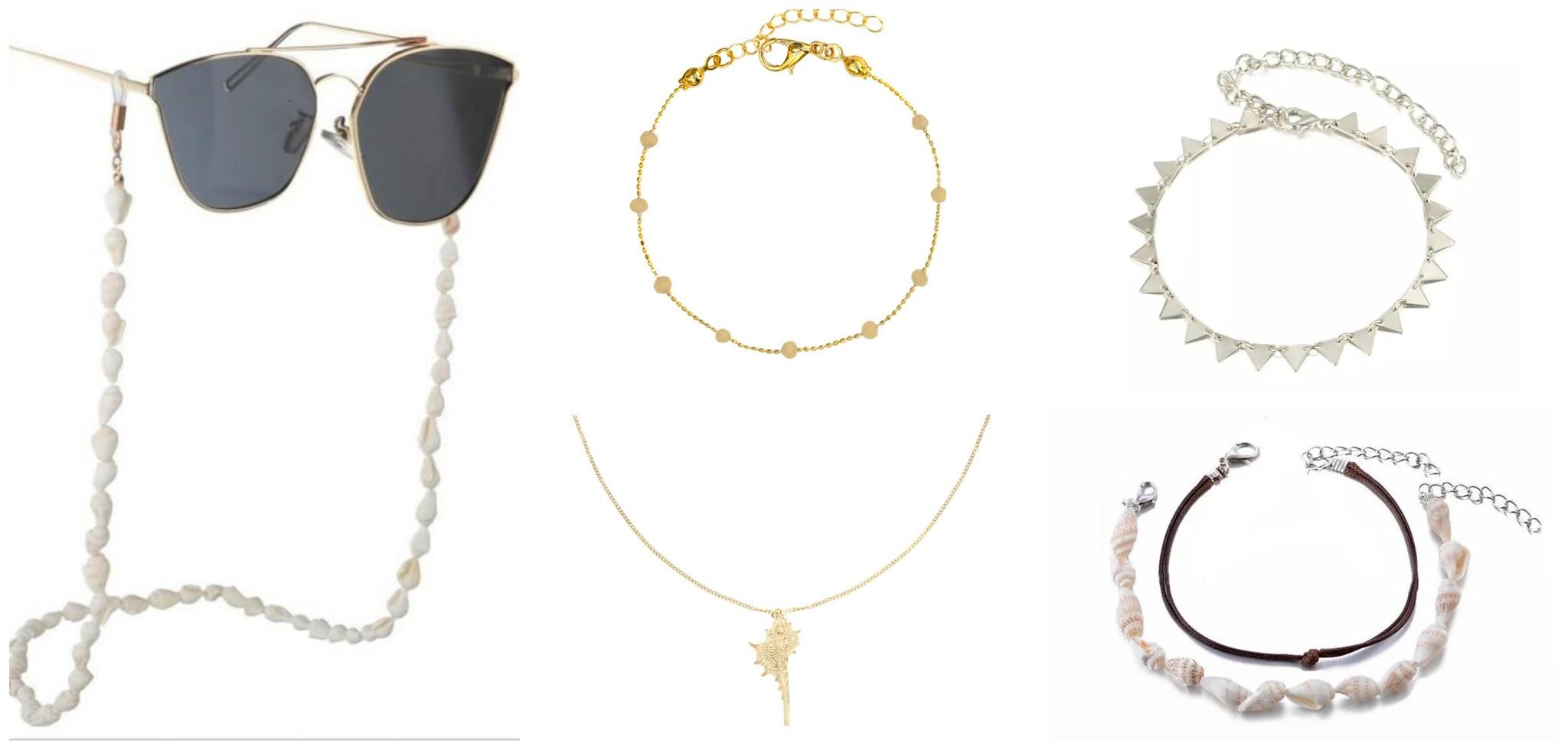 accessoires strand outfit brillenkoord shell sieraden enkelbandjes