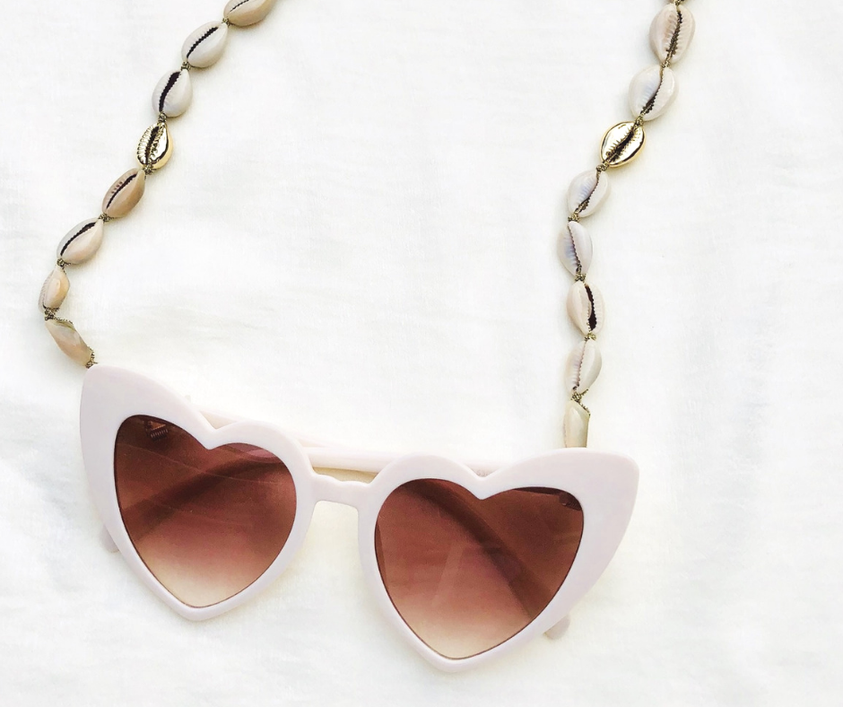 zonnebrilkoordjes fashion-click heart wit zonnebril frame