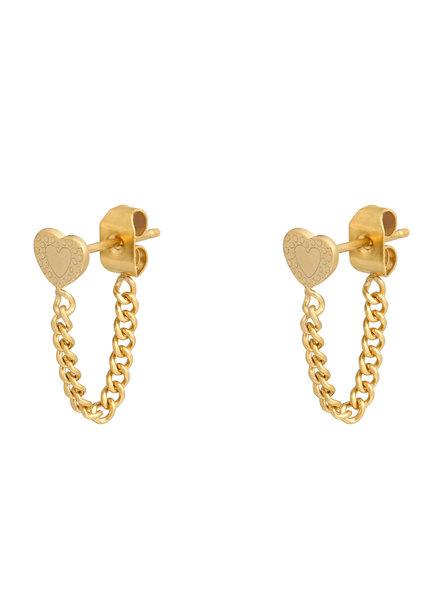 Fashion-Click Oorbellen Heart & Chain