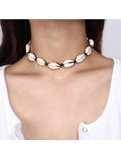 Fashion-Click Choker Ketting Natural Shells Black