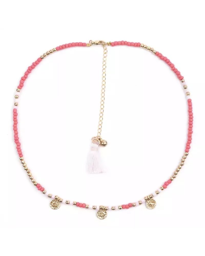 Fashion-Click Ketting Beads & Coins Pink
