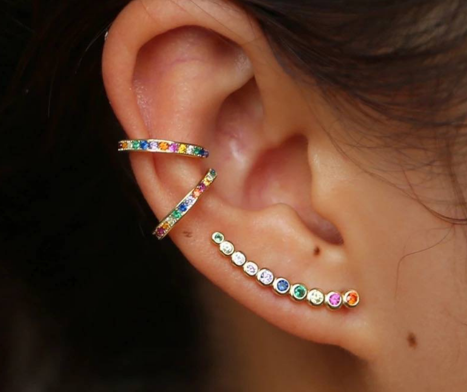 ear cuffs party kleuren regenboog steentjes oorbellen
