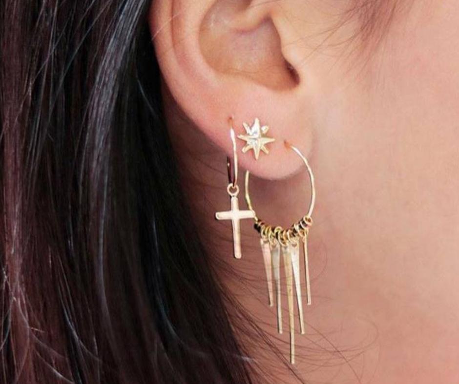 oorringetjes meerdere soorten combineren goud hangers kruis sterren