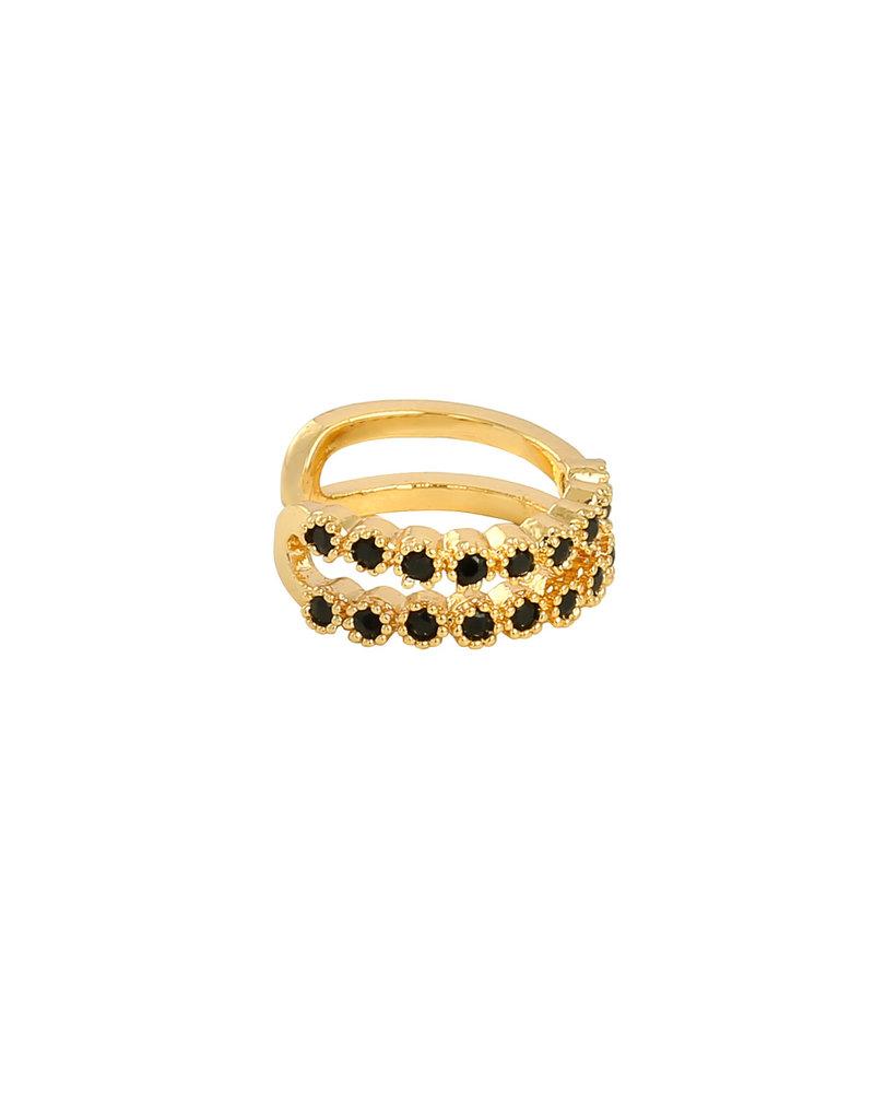 Fashion-Click Earcuff Black Stones Deluxe