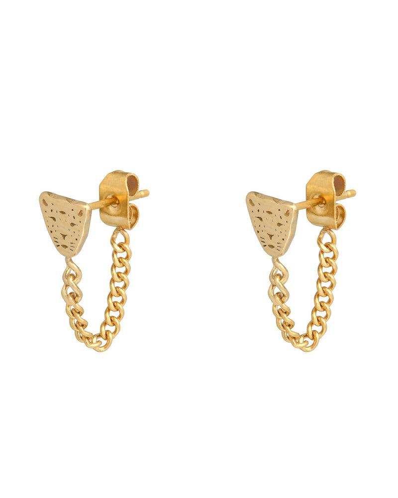 Fashion-Click Oorbellen Leopard & Chain