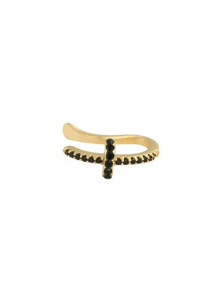 Fashion-Click Earcuff Black Stones Cross
